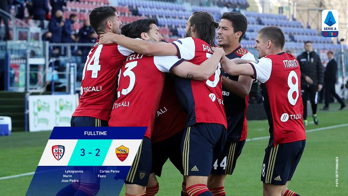 Skor akhir Cagliari 3-2 AS Roma
