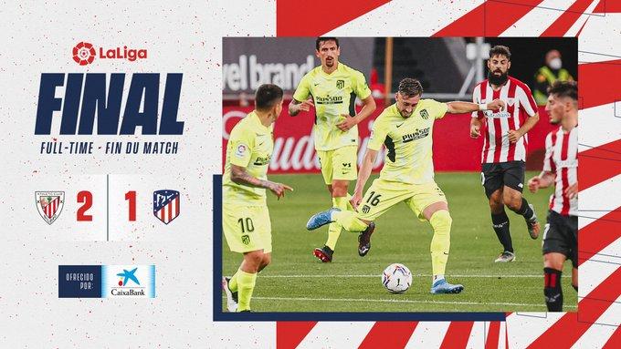 Skor akhir Athletic Bilbao 2-1 Atletico Madrid