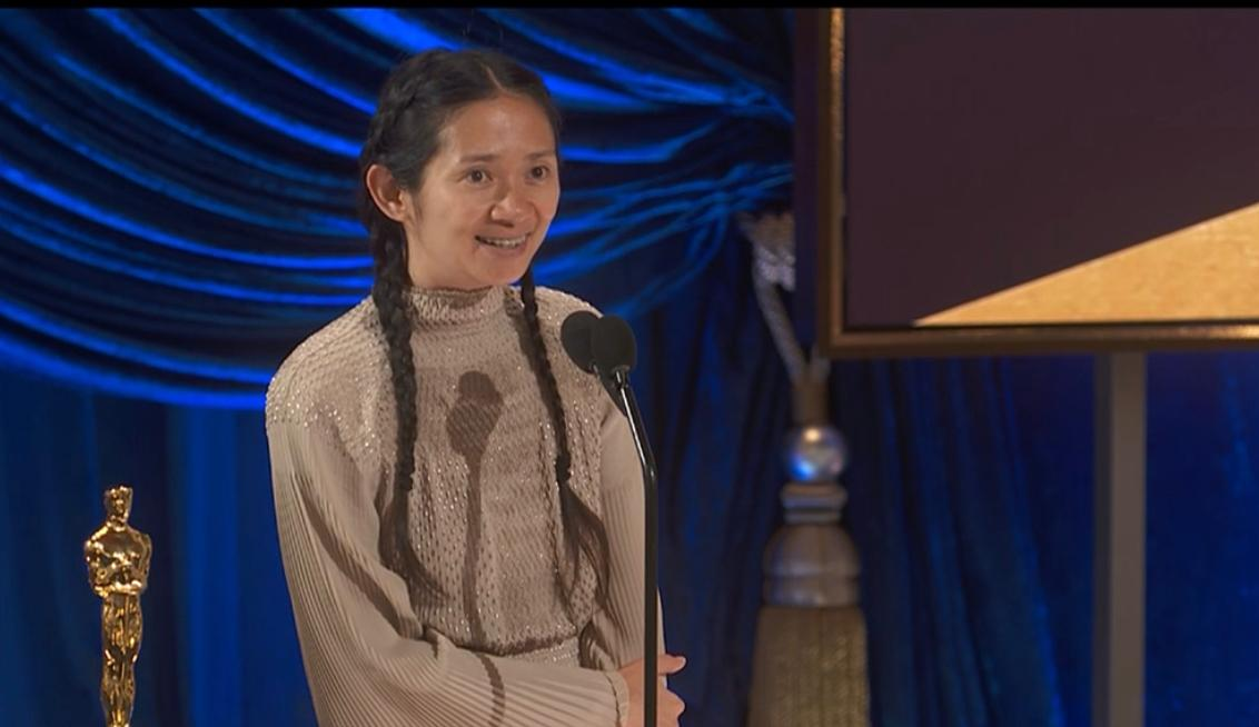 Chloe Zhao at the 2021 Oscars accepting the award for Best Director for Nomadland