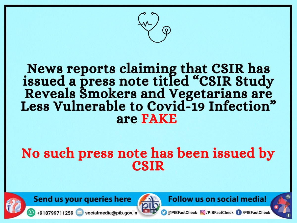 A text graphic reading 'News reports claiming that CSIR has issued a press note titled 'CSIR Study reveals smokers and vegetarians are less vulnerable to Covid-19 infection' are fake. No such press note has been issued by CSIR