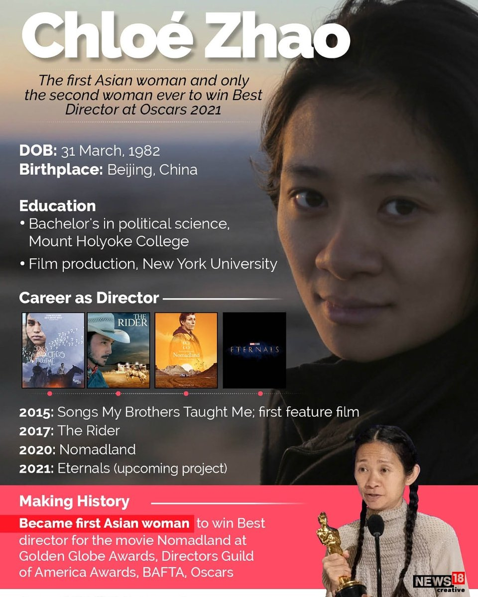 """CNBC-TV18 on Twitter: """"Know more about Chloe Zhao, the first Asian Woman & second ever to win Best Director Award at Oscars 2021 #Oscars2021 #ChloeZhao #Movies #entertainment #Nomadland… https://t.co/B3hLiKIZuj"""""""