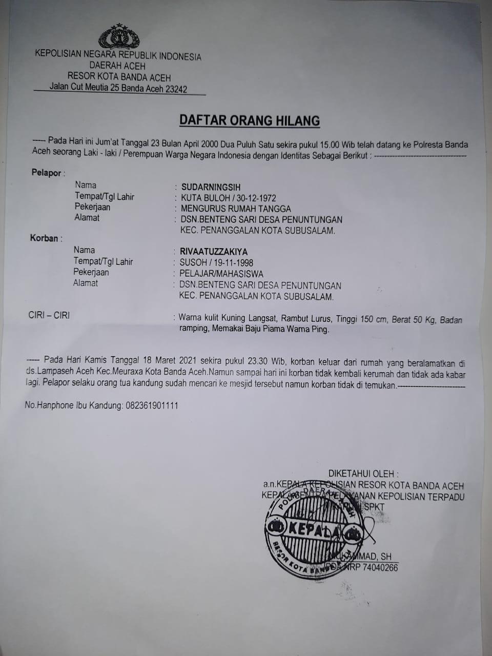 salinan Daftar Orang Hilang yang dikeluarkan Polresta Banda Aceh dan diterima Serambinews.com dari keluarga korban, Senin (26/4/2021)
