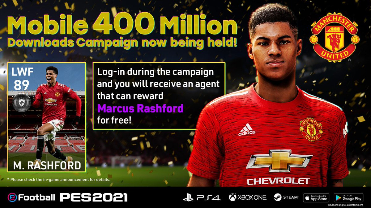 Congratulations! PES2021 400 Million Downloads on Mobile.   Mobile 400 Million Download Campaign is now being held. Log-in during the campaign and you will receive an agent that can reward me for free!  Download Now!  https://t.co/H9VjDiAQ4r  #PES2021 @officialpes #ad https://t.co/743G8qEJo0