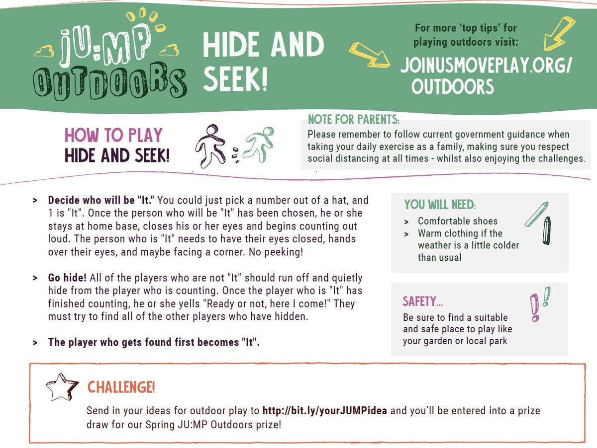 RT @JoinUsMovePlay: Week 10 JU:MP challenge! Can you play hide and seek? Remember Kids can submit their own outdoor play ideas at https://t.co/zX6RiD9U7V & have the chance to win outdoor equipment through our spring prize draw because #OutdoorPlayMatters #playfirst!