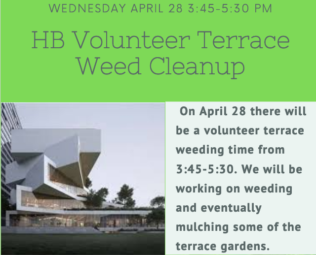 🌱🌿😷Help weed the terraces, students <a target='_blank' href='http://twitter.com/HBWProgram'>@HBWProgram</a>! Wednesday, 28 April '21, starting 3:45-- an outdoor Green Club event that can bring our virtual students onto campus. Fresh air! Bring water, sunscreen, a trowel, gardening gloves... More at HBW home page. <a target='_blank' href='http://search.twitter.com/search?q=APSGreen'><a target='_blank' href='https://twitter.com/hashtag/APSGreen?src=hash'>#APSGreen</a></a> <a target='_blank' href='http://twitter.com/hbw_mike'>@hbw_mike</a> <a target='_blank' href='https://t.co/UHlOCeFORa'>https://t.co/UHlOCeFORa</a>