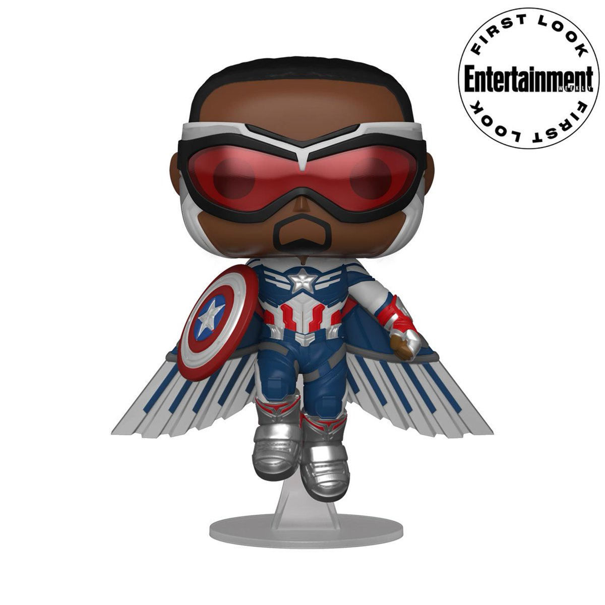 """The Falcon and the Winter Soldier News's tweet - """"First look at the Captain America Battle Funko Pop and higher quality image of Captain America Flying Funko Pop #thefalconandthewintersoldier #captainamerica #samwilson #captainamericaandthewintersoldier"""