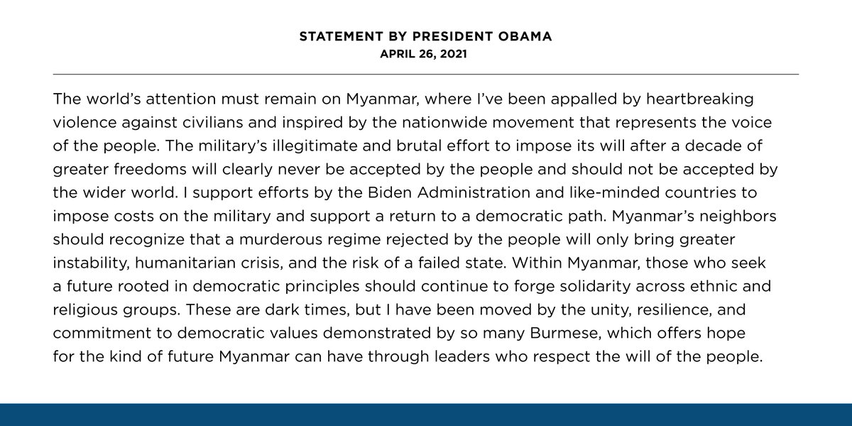 The world's attention must remain on Myanmar, where I've been appalled by heartbreaking violence against civilians and inspired by the nationwide movement that represents the voice of the people. https://t.co/zBkJqEeq0E