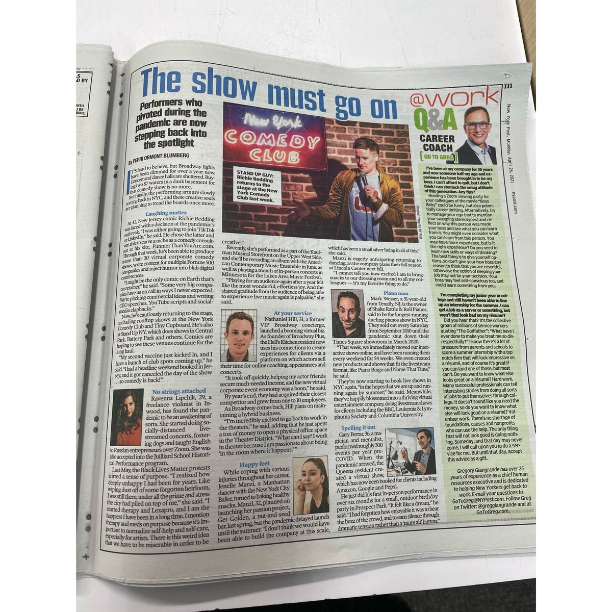 Yesterday, the @NyPost ran an article featuring myself and 7 artists in NYC sharing our career paths amid the pandemic. Today, they ran the same article in print, but omitted the only TWO black artists featured. My request to the @NYPost is simply this: DO BETTER. Thank you.