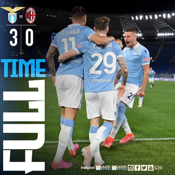 Skor akhir Lazio 3-0 AC Milan