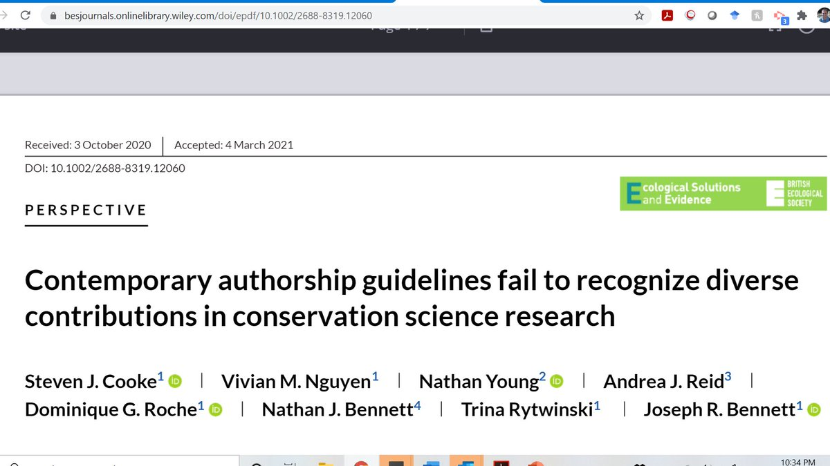 Authorship is rarely straightforward in conservation science.  Here we discuss why with a call to better acknowledge and reward diverse contributions beyond the usual things like collecting data, doing analysis or writing. A thread.  https://t.co/i2WgdMvidr @SCB_SSWG @vivmn https://t.co/OMinpkfTRC