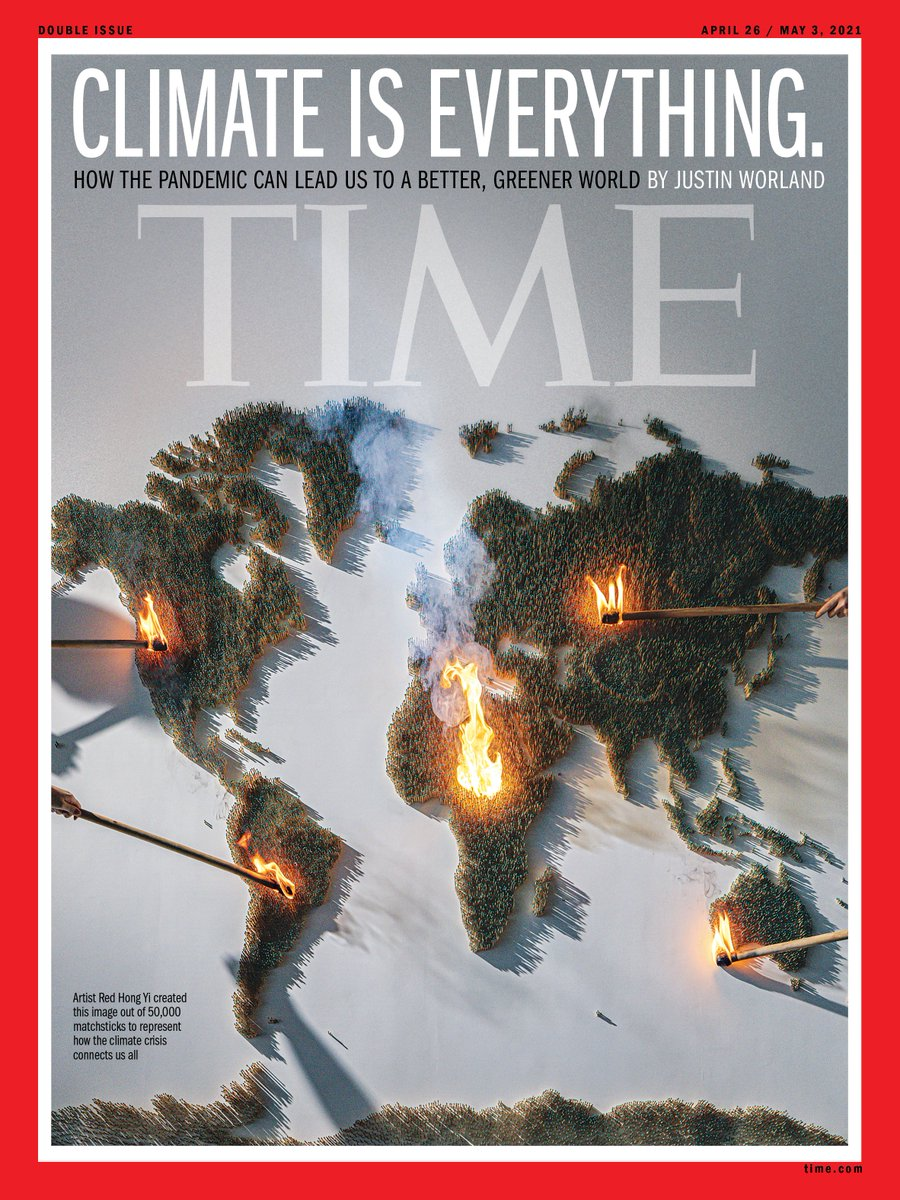 Thanks to Red Hong Yi @redhongyi and her amazing team for creating this week's TIME cover. It took two weeks to create the image made of 50,000 green-tipped matchsticks - which she then set on fire to represent how the climate crisis touches us all. @TIME https://t.co/PfKhTreh0V