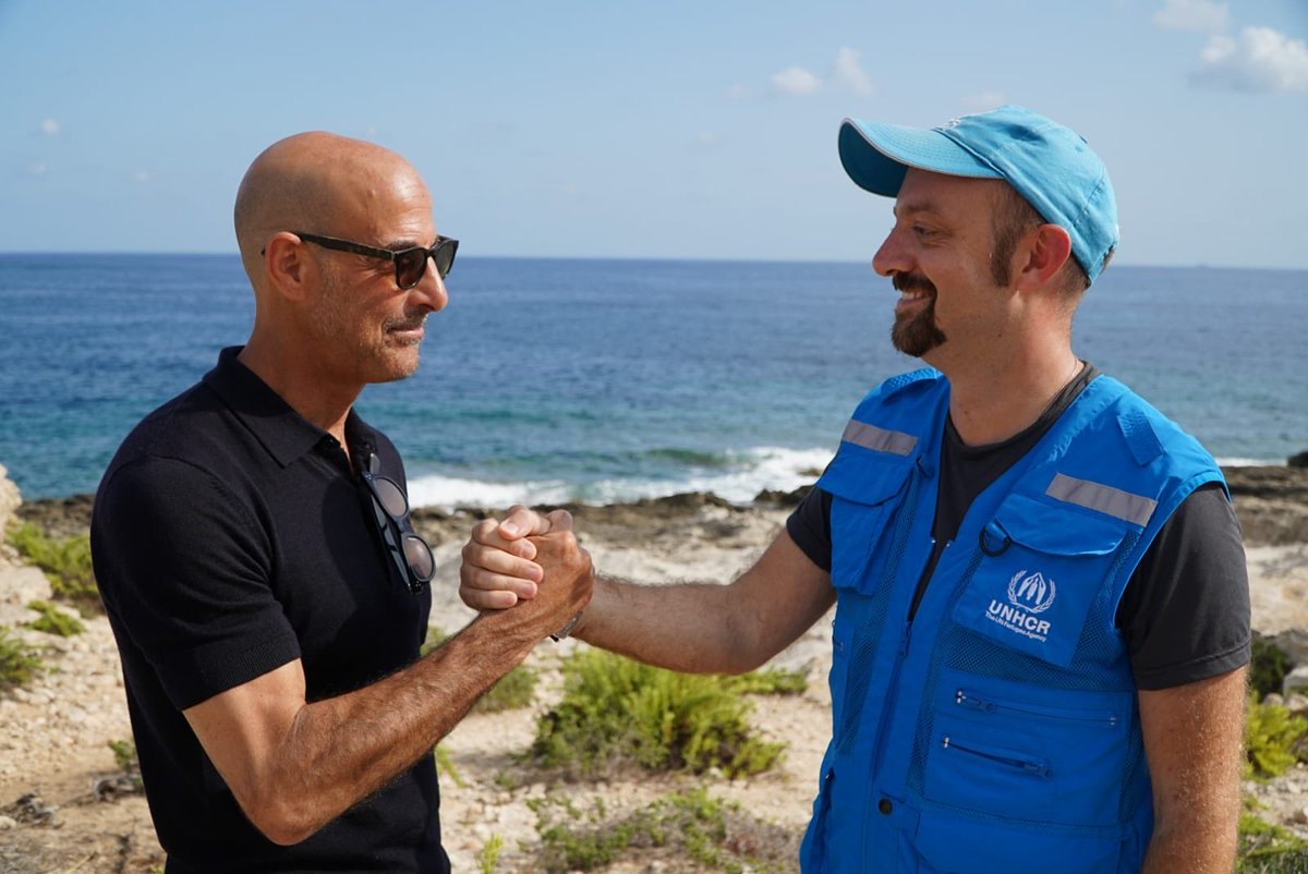 Great memory back in Lampedusa: had a talk with Stanley Tucci on refugees & asylum seekers ordeal through Africa & Mediterranean.  While filming #SearchingForItaly w/@CNNTravel he didn't forget about refugees plight.  Such a gentleman & great @Refugees ambassador.