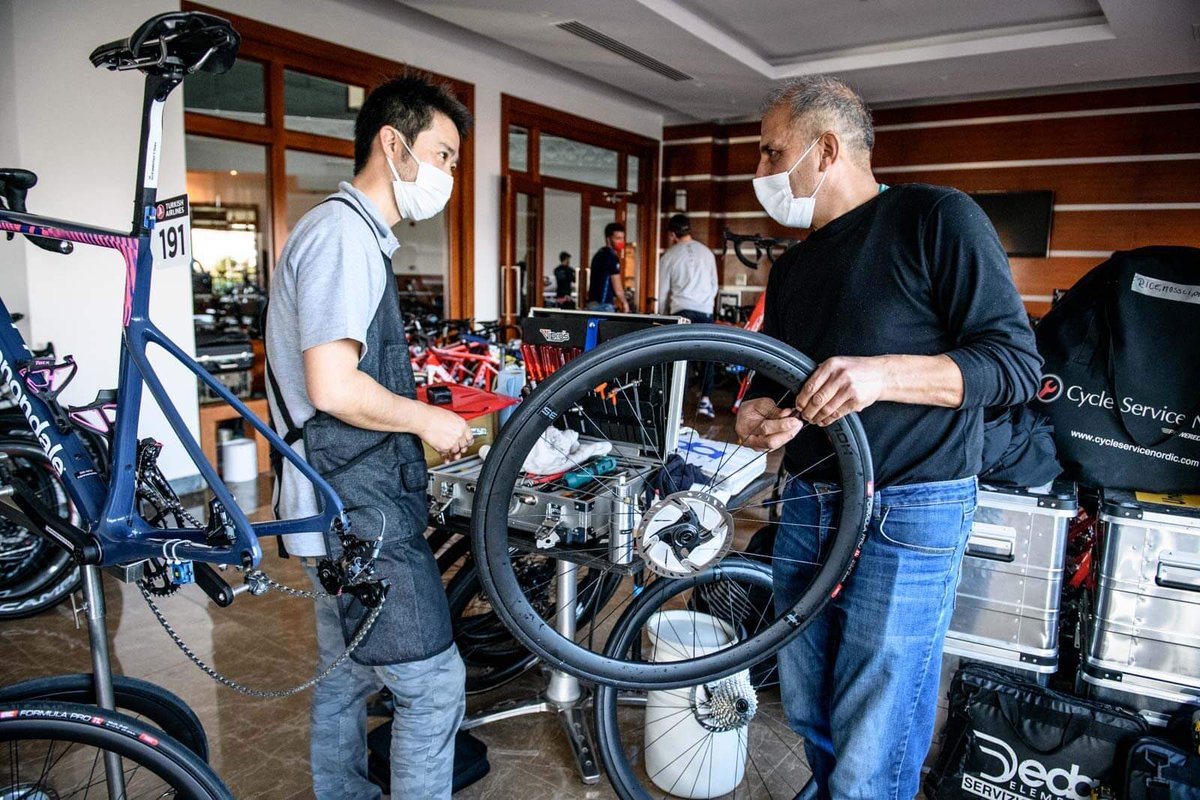 A race is not just cycling but also a lot of work behind the scenes. Our international crew of mechanics from 🇯🇵and 🇹🇷 are preparing our @RideCannondale bikes with @SpeedplayPedals and @irctire_bike every day for the riders. Thanks a lot to them! #TUR2021 #sponsorship #Hardwork
