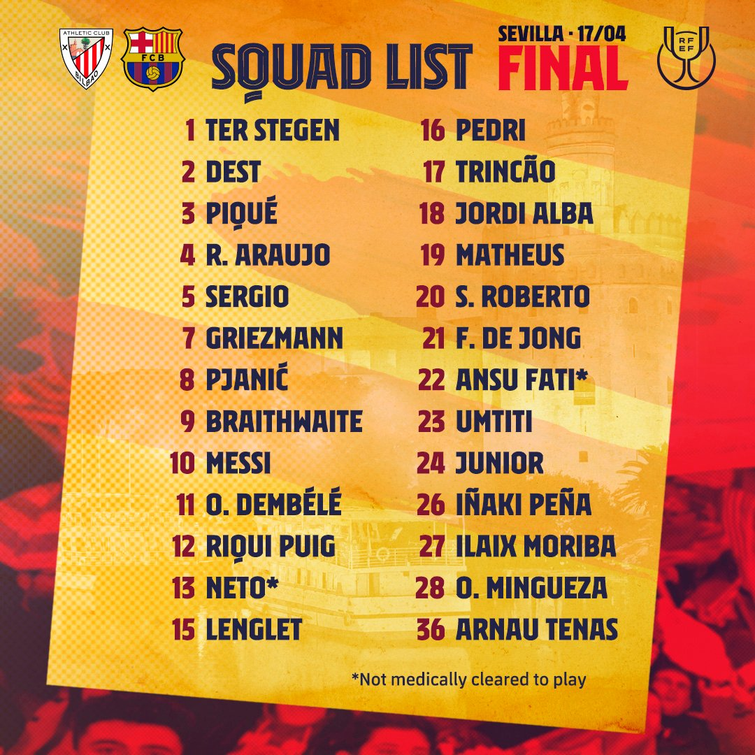 The squad for Athletic Club 🆚 Barça in the Copa del Rey final! 🏆 #CopaBarça https://t.co/yZMTd0YYyY