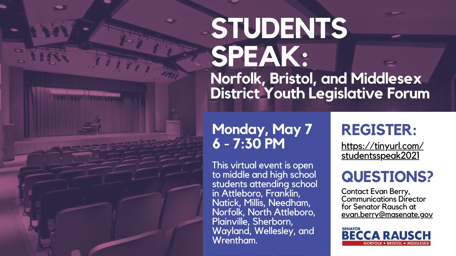 "Senator Rausch schedules ""Youth Legislative Forum"" - May 7"