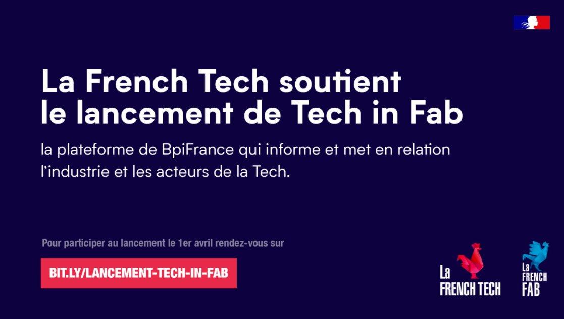 👏📢@Bpifrance et @FR_Industrie assure le lancement  #TechInFab Une plateforme répondant aux enjeux de collaboration entre les acteurs de la #tech et l'#Industrie soutenue par  @LaFrenchTech #startups  #innovation @TechSaclay  Découvrez 👉➡️https://t.co/2IlYbSyUjC