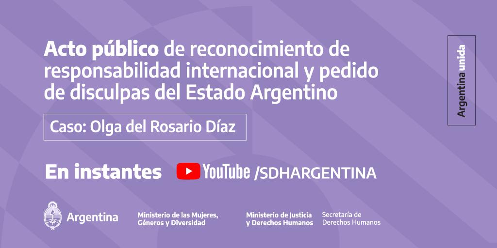 Está por comenzar el acto que llevaremos adelante junto a @SDHArgentina en el que el Estado Argentino asumirá su responsabilidad internacional en el caso de Olga del Rosario Díaz.   Sumate en vivo 👉 https://t.co/IQ1LDpyQnb