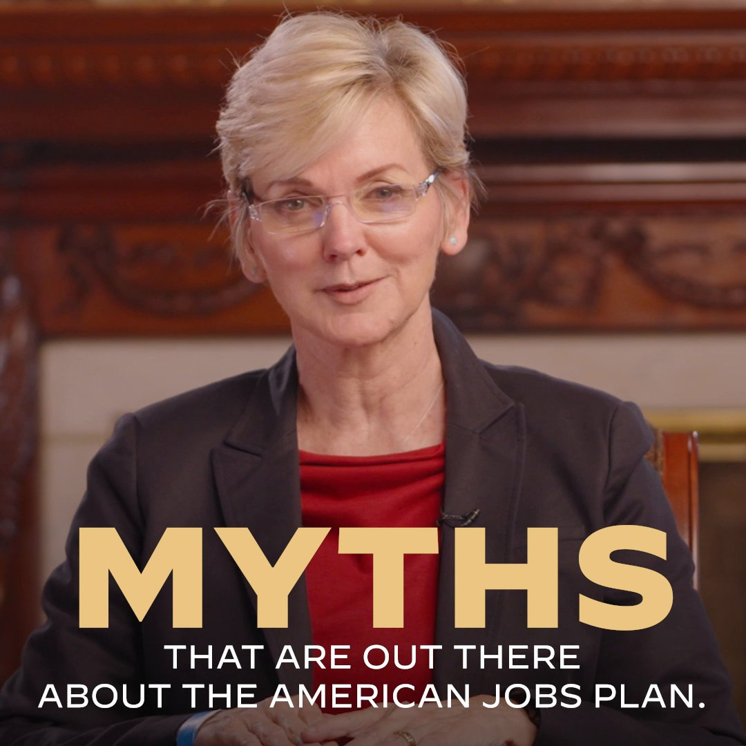 There are a lot of myths out there about the American Jobs Plan — so I asked @SecGranholm to clear a few things up. https://t.co/FangHOgn49
