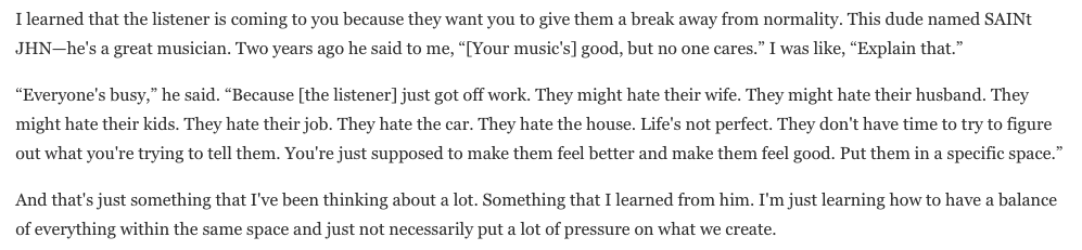 """""""Put them in a specific space.""""  Incredible advice for artists from @SAINtJHN, shared by @VinceStaples in his new @GQMagazine interview."""