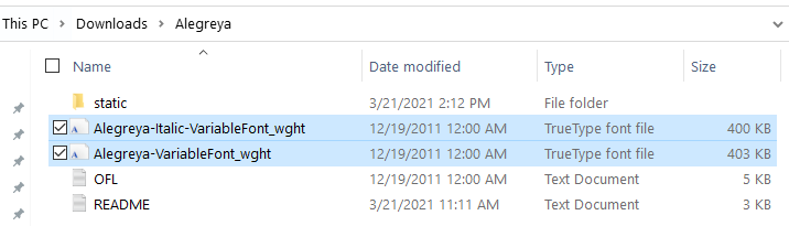 Variable font files for Alegreya