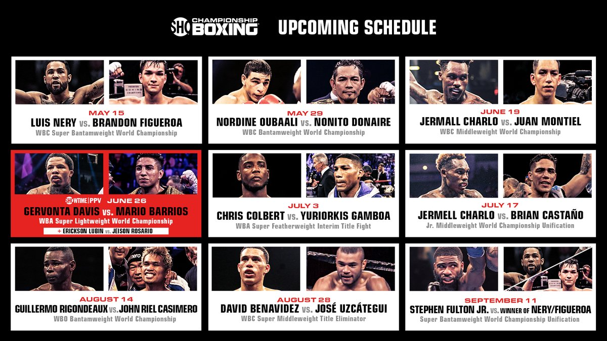 Prepare for impact 🥊   Loaded 5-month boxing schedule featuring 9 high-stakes world championship events beginning 5/15 on @Showtime.  Mark your 🗓: https://t.co/MbyZFQoTKn https://t.co/qsxfBByRX9