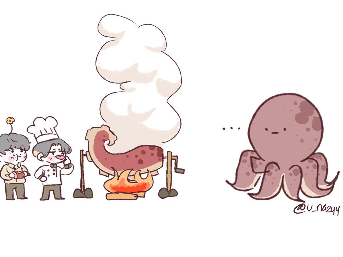 RT @u_na244: Octopus leg for dinner  . #ateez #ateezfanart #yeosang #wooyoung #에이티즈 #에이티즈팬아트 #여상 #우영...