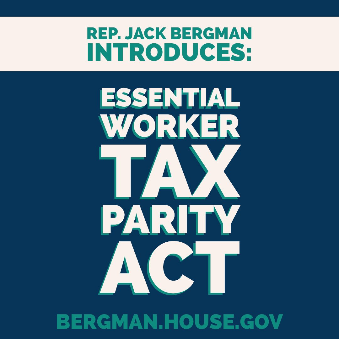 Today, I introduced the Essential Worker Tax Parity Act to ensure that our workers who carried the economy on their backs over the past year get the same $10,200 tax break that was given to those who had to collect unemployment.   Read more here —> https://t.co/68GBcJ64pr https://t.co/2jvOKCHbYH