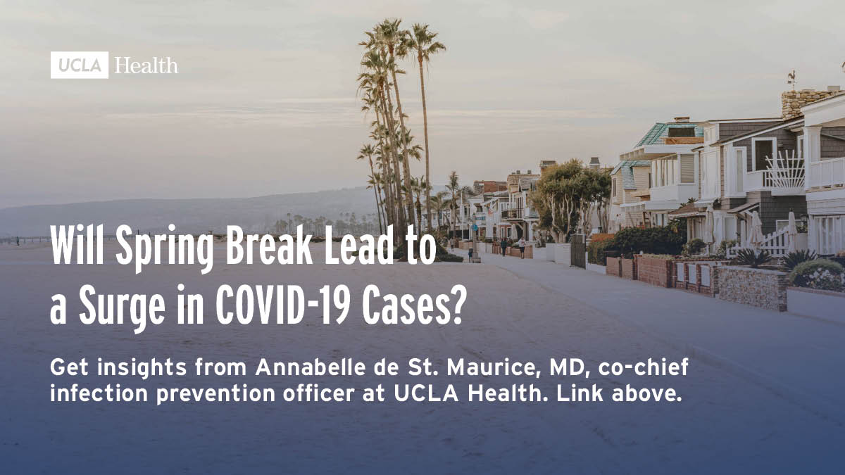 Concerns were raised that spring break would lead to surges in COVID-19 in 2021.  Annabelle de St. Maurice, MD, co-chief infection prevention officer at UCLA Health, explains how a beach trip could increase transmission of the virus and more:--> https://t.co/rUyHCsfN4e https://t.co/tHoCyMHtTk
