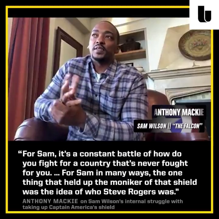 Anthony Mackie, star of @falconandwinter, on Sam Wilson's internal struggle with taking up Captain America's shield and fighting for a country that never fought for him as a Black man.  Full FWS roundtable: https://t.co/FxPibSLH56 https://t.co/HQm0ePv02L