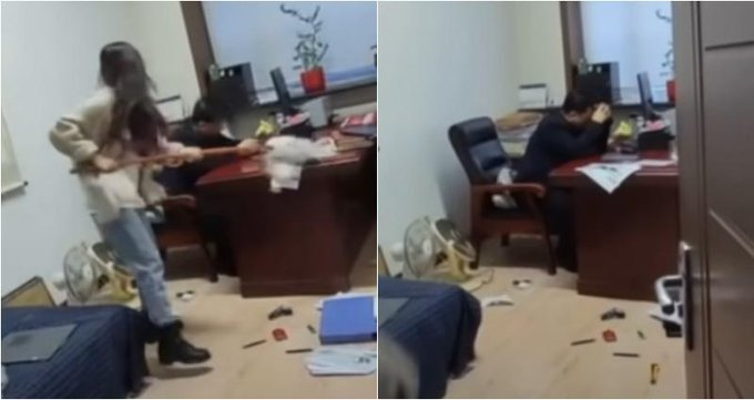 Chinese Woman Goes Viral After Hitting Boss With Mop for Alleged Harassment Photo