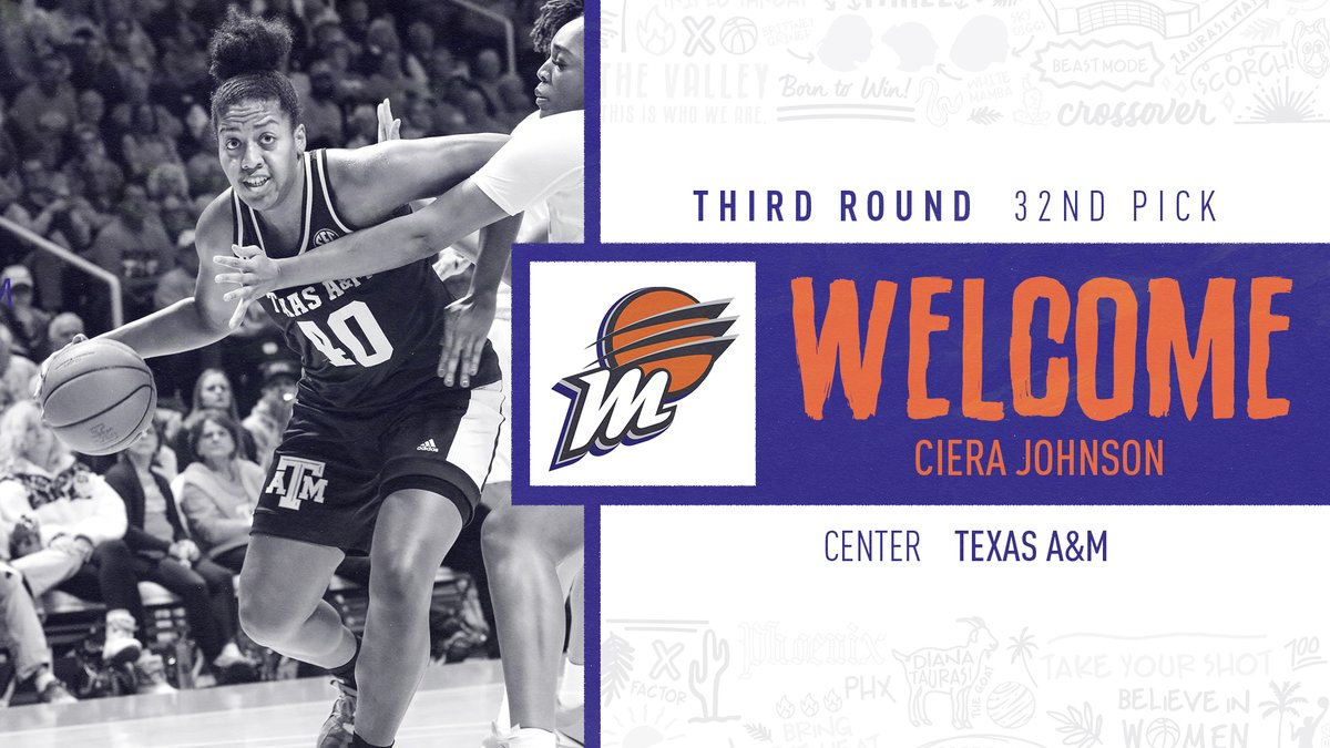 With the 32nd pick in the 2021 @WNBA Draft, the Phoenix Mercury select Ciera Johnson from @AggieWBB!   Welcome to The Valley, @_CieraJ! 💜🏜️🙅‍♀️ https://t.co/qDl1MFgeNq