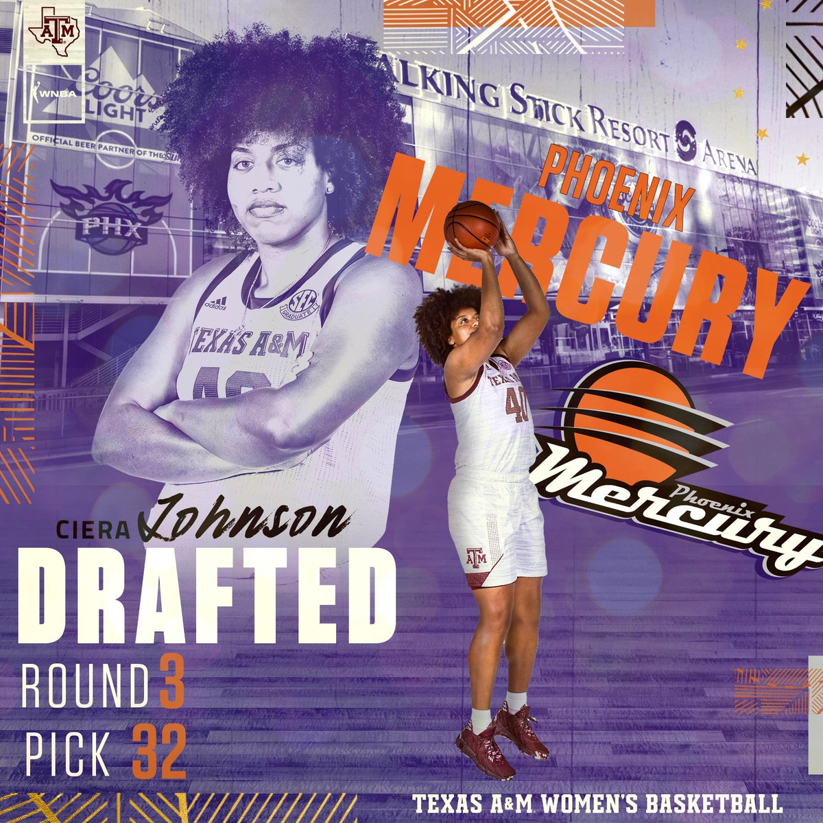 OUR CAPTAIN 😤  The @PhoenixMercury just got the best leader in the draft! You earned this, C ❤️  #GigEm | #WNBADraft https://t.co/QwfjiQvs5l