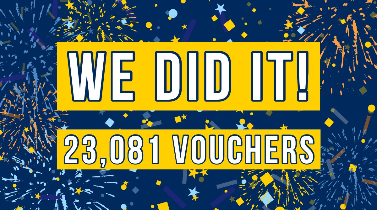 Time: 2️⃣ days left Count: 23,081 vouchers  🎉WE DID IT!🎉  Goal met 2 days before 1 year anniversary of 'virtual events'!! 🥳  Since April 2020, we issued over 23k $500 smog repair vouchers thru the @ValleyAir program #TuneInTuneUp throughout San Joaquin Valley communities 🏘 https://t.co/6O6rukJhvX