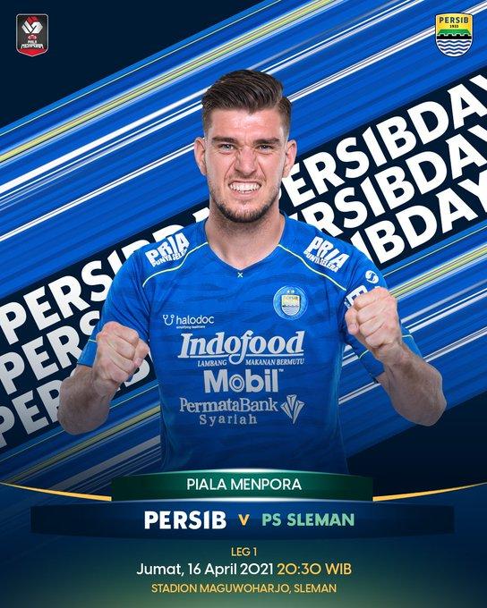Leg 1 Semifinal Piala Menpora 2021 Persib Bandung vs PS Sleman, Jumat (16/4/2021) malam pukul 20.30 WIB