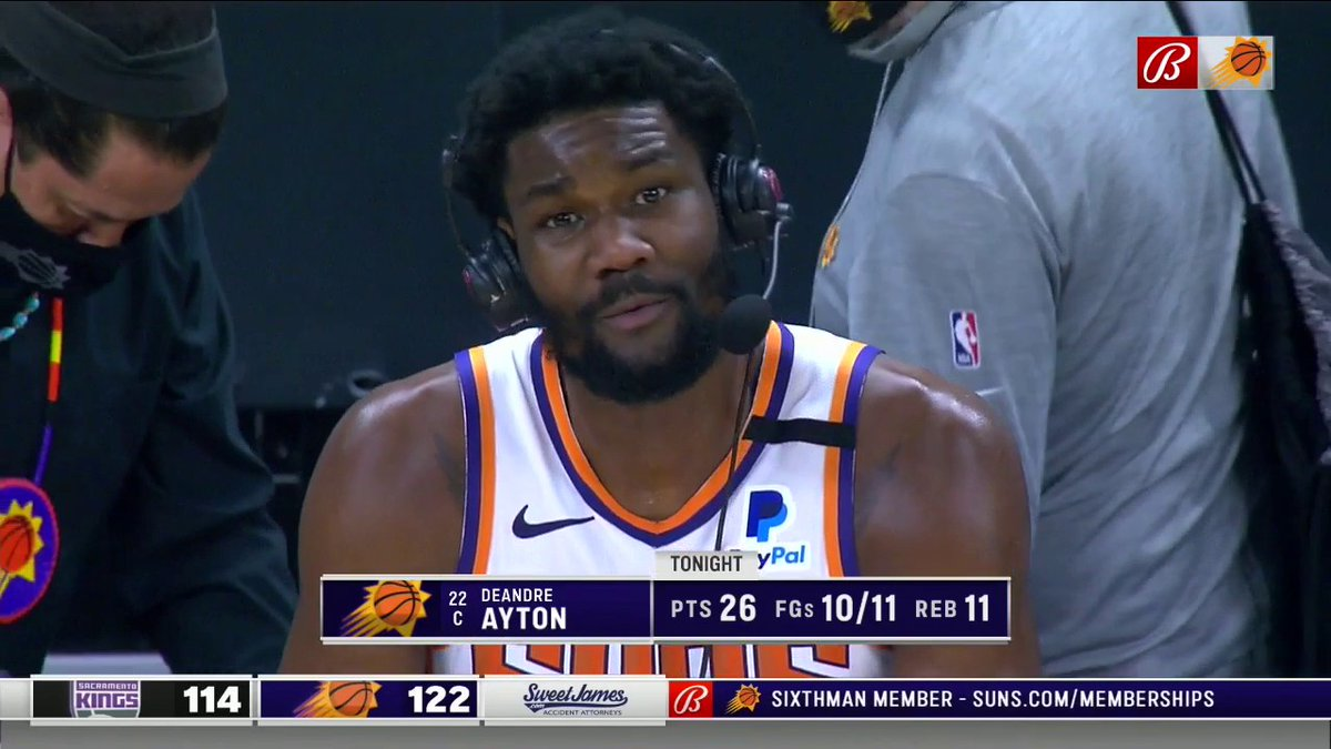 The Suns have won 40 games.  DA was a big reason why. 30 double-doubles for the big guy! https://t.co/wI58CRM5Nu