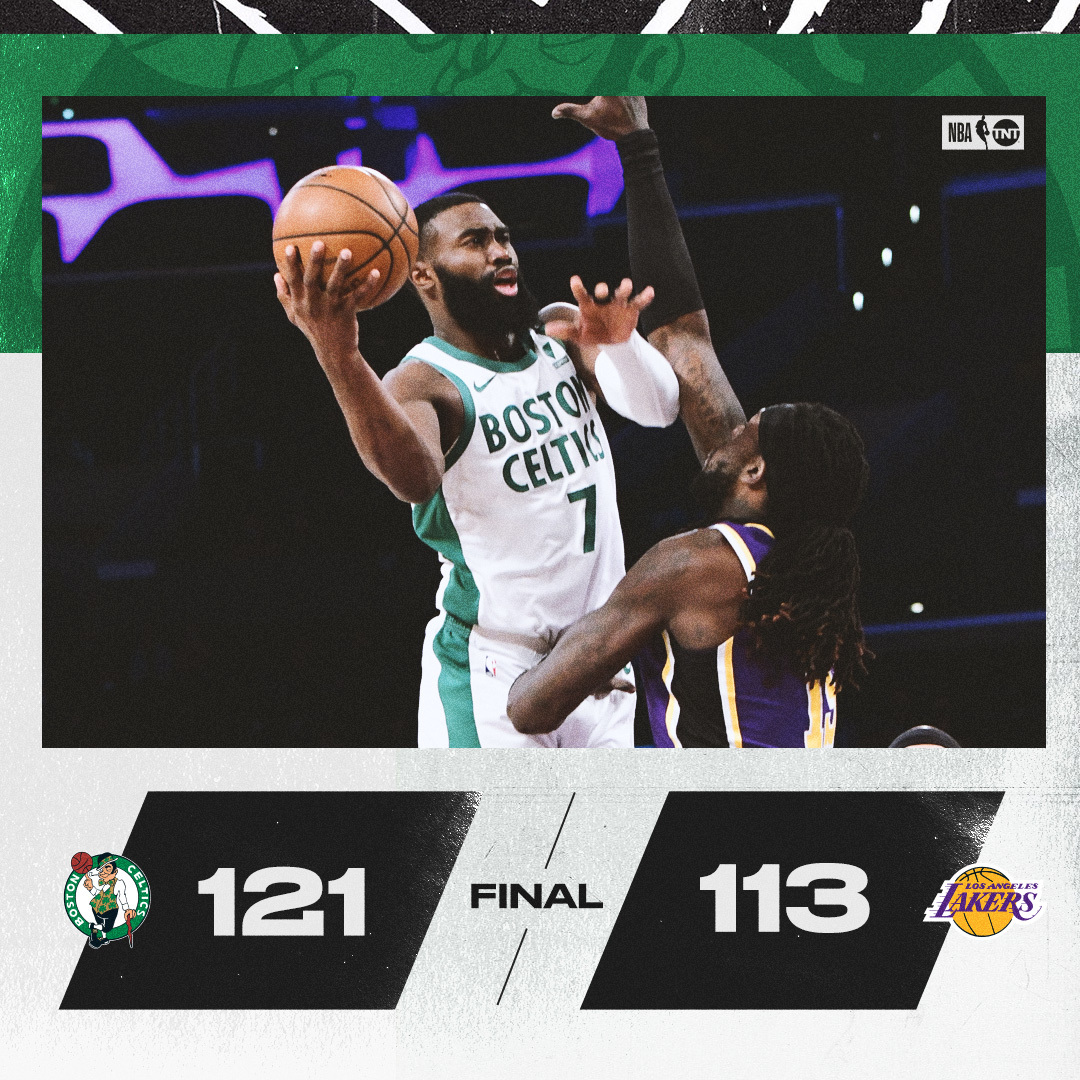 The Celtics hold off LA to secure the win ☘️ https://t.co/d6q0oITTIv