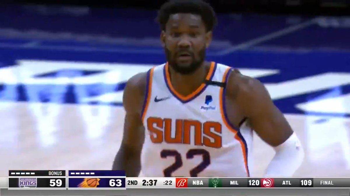☀️ 26 PTS  ☀️ 11 REB ☀️ 10/11 FGM ☀️ 6/6 FTM  @DeandreAyton leads the @Suns to 4 straight wins! https://t.co/daYkBHPd1C