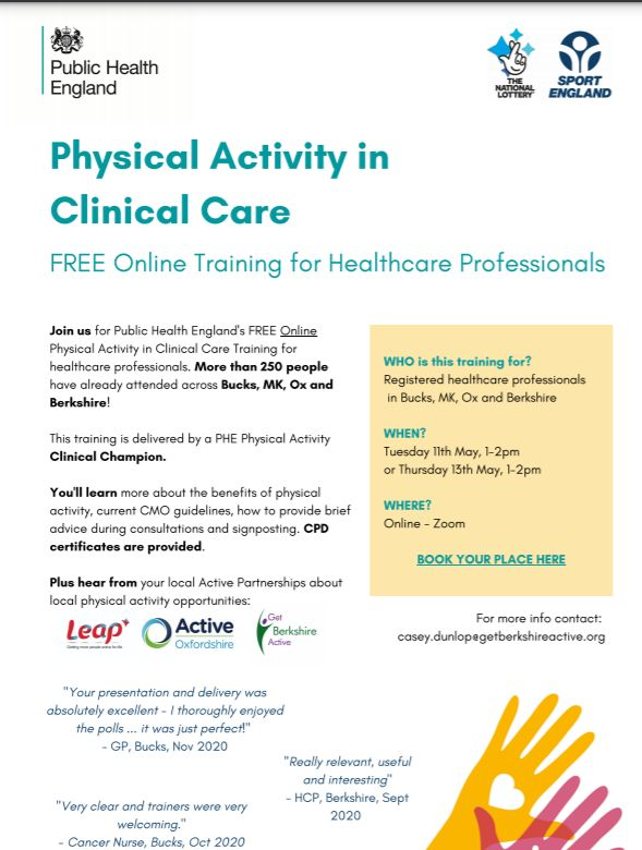 Join us for Public Health England's FREE Online Physical Activity in Clinical Care Training for healthcare professionals. Over 250 people have already attended across Bucks, MK, Ox & Berkshire! Register here 👇 [link]]  @oxfordhealthAHP @OHFTCareers https://t.co/mpksk45UYF