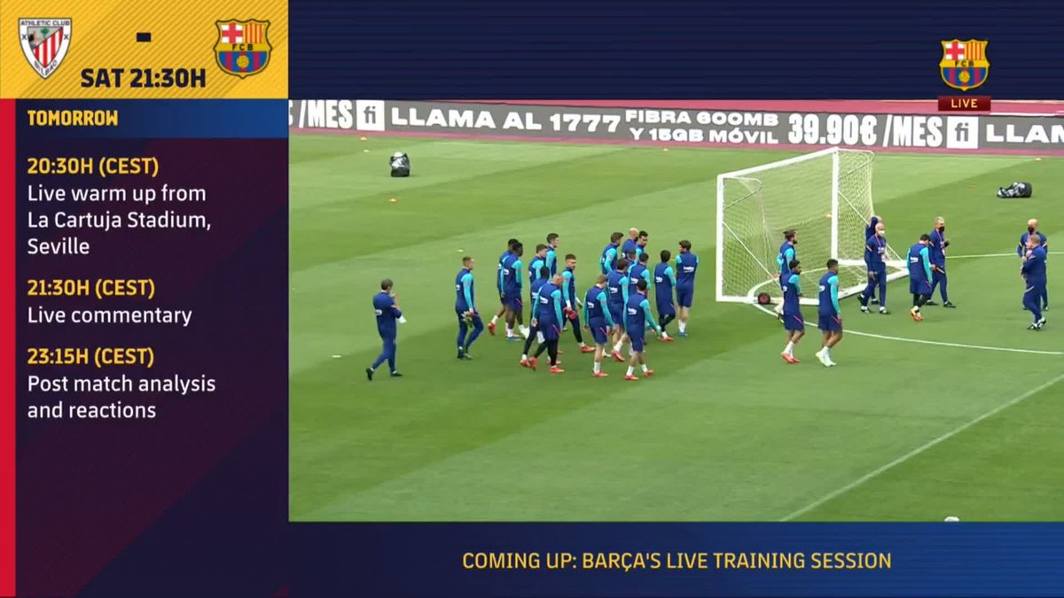 ⚡️ LIVE NOW! ⚡️ Barça training session ahead of the Copa del Rey final! #CopaBarça 💪🟦🟥  🖥 Watch now for FREE on Barça TV+: https://t.co/v28AM27Zzq https://t.co/M4M4498rb3