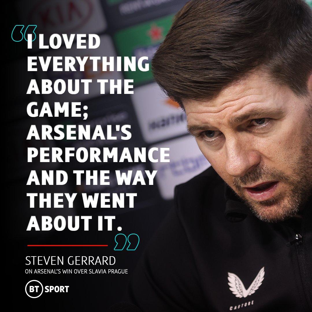 RT @btsportfootball: Steven Gerrard lavished praise on Arsenal following their #UEL victory over Slavia Prague 👏 https://t.co/wh5GPyrvLE