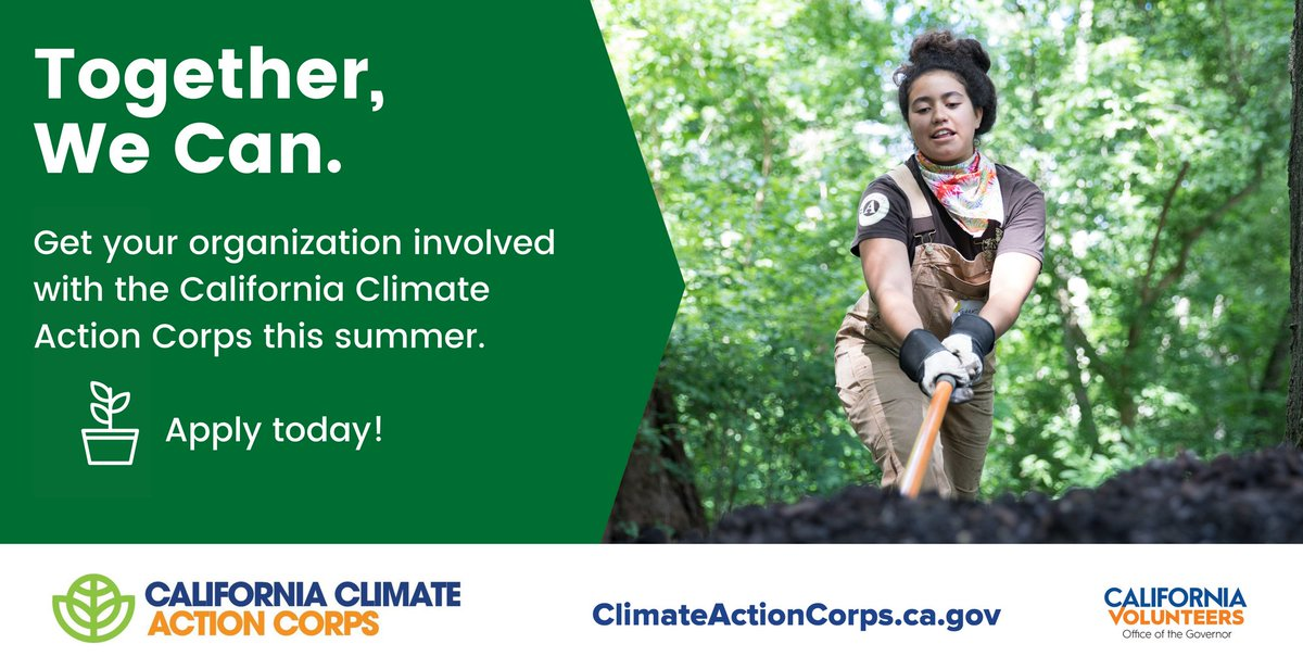 California Climate Action Corps is looking for partners with climate project needs who want to host @AmeriCorps Fellows this summer. Apply today! https://t.co/pHiSNf8sVs https://t.co/E6r25ASi1T