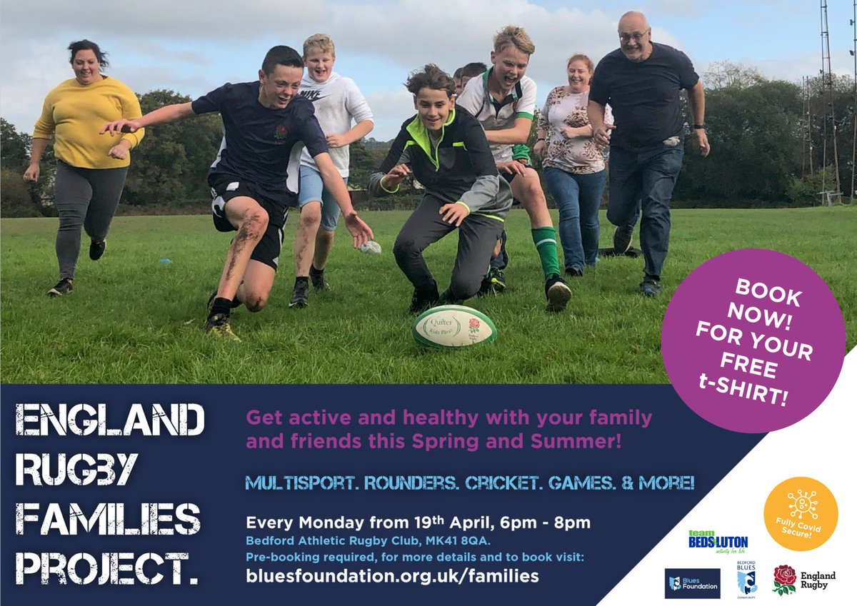 RT @teamBEDS: 🏉We are proud to be supporting the @bluesfoundatio1 with their multi sports family programme. Ages 12 + 🏃♂️ Coaching from Blues Community 📅 Every Monday until the Summer hols ⏰ 6pm - 8pm 📍 Official Bedford Athletic 💷 FREE Sign up ➡️ https://t.co/pjjyoo4vyI #ActiveBedfordshire