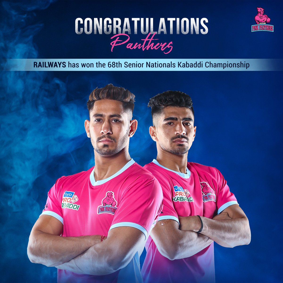 Railways has won the 68th Senior Nationals Kabaddi Championship. Congratulations to @nitinrkabaddi & @Sandeep_Dhull_4 for assisting their team to glory! 👏🏻   #PantherSquad #JaiHanuman #TopCats #JaipurPinkPanthers #JPP #Jaipur #vivoprokabaddi