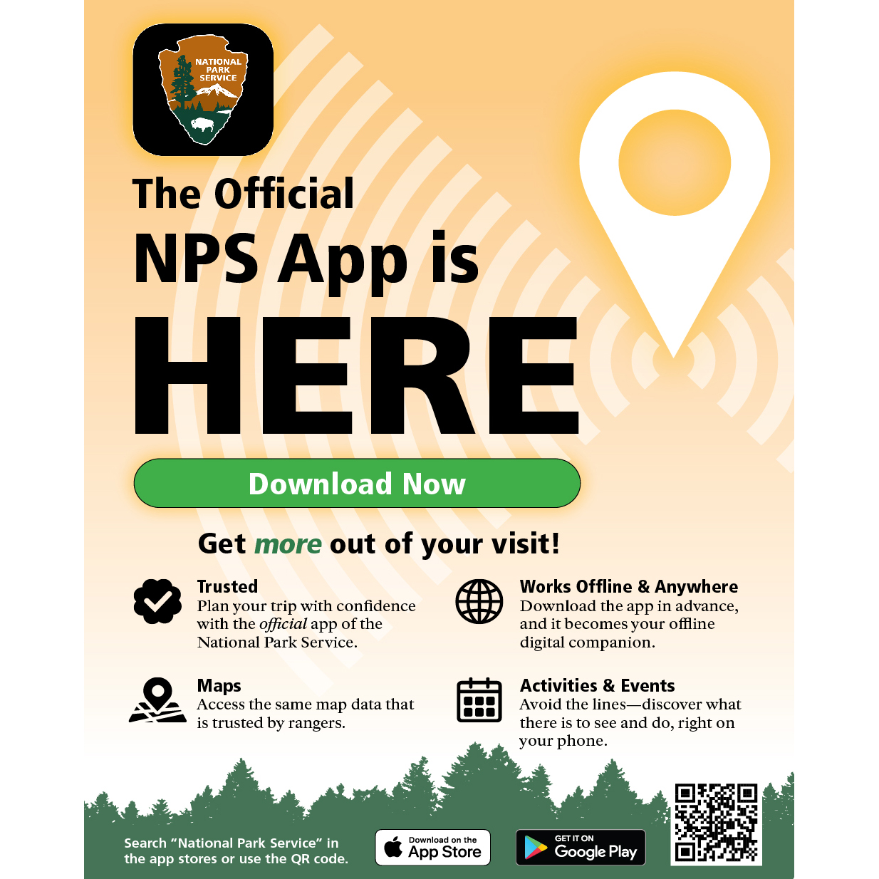 An orange poster for the new NPS mobile App, showing the NPS Arrowhead icon in the top left corner.