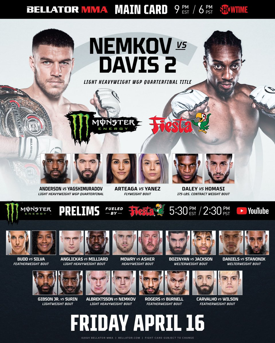 I T ' S   F I G H T   D A Y !  #Bellator257 will be LIVE tonight & here's how you can catch this incredible evening of violence.👇  🇺🇸 @MonsterEnergy Prelims fueled by @FiestaMart LIVE on the Bellator YouTube channel, @PlutoTV and @SHOSports at 5:30pm ET/2:30pm PT. https://t.co/p8SBdufGwV