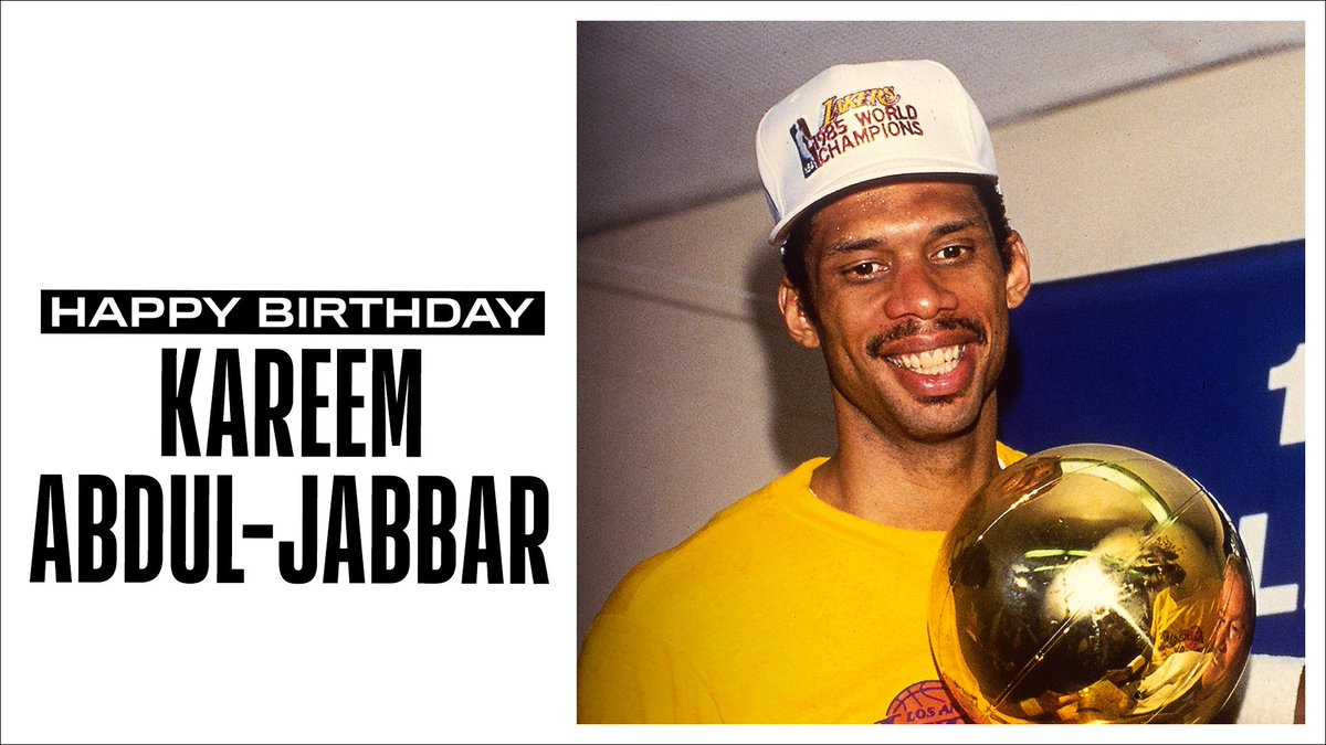 Join us in wishing a Happy 74th Birthday to the NBA all-time leader in career points, 19x #NBAAllStar, 6x NBA Champion, 6x NBA MVP, and @Hoophall inductee, Kareem Abdul-Jabbar! #NBABDAY https://t.co/jHL9J6SfVf