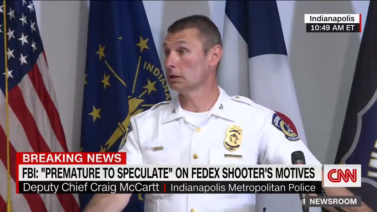 """""""He just appeared to randomly start shooting."""" Indianapolis Metropolitan Police's Craig McCartt says officials do not know of any connection yet between the gunman and the FedEx facility. The investigation is ongoing, he said."""