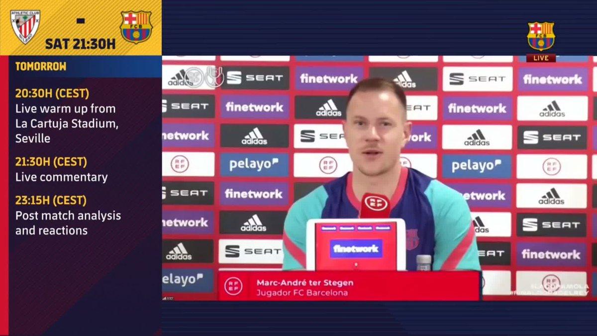 ⚡️ LIVE NOW! ⚡️ @mterstegen1 press conference ahead of the Copa del Rey final! #CopaBarça 💪🟦🟥  🖥 Watch now for FREE on Barça TV+: https://t.co/v28AM27Zzq https://t.co/2ekGOFXGAi