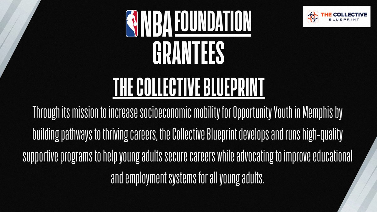 The NBA Foundation has partnered with The Collective Blueprint, an organization that aims to increase socioeconomic mobility for youth in Memphis by building pathways to thriving careers. Learn more at https://t.co/am1jauag5R. https://t.co/j17BW3ir9m
