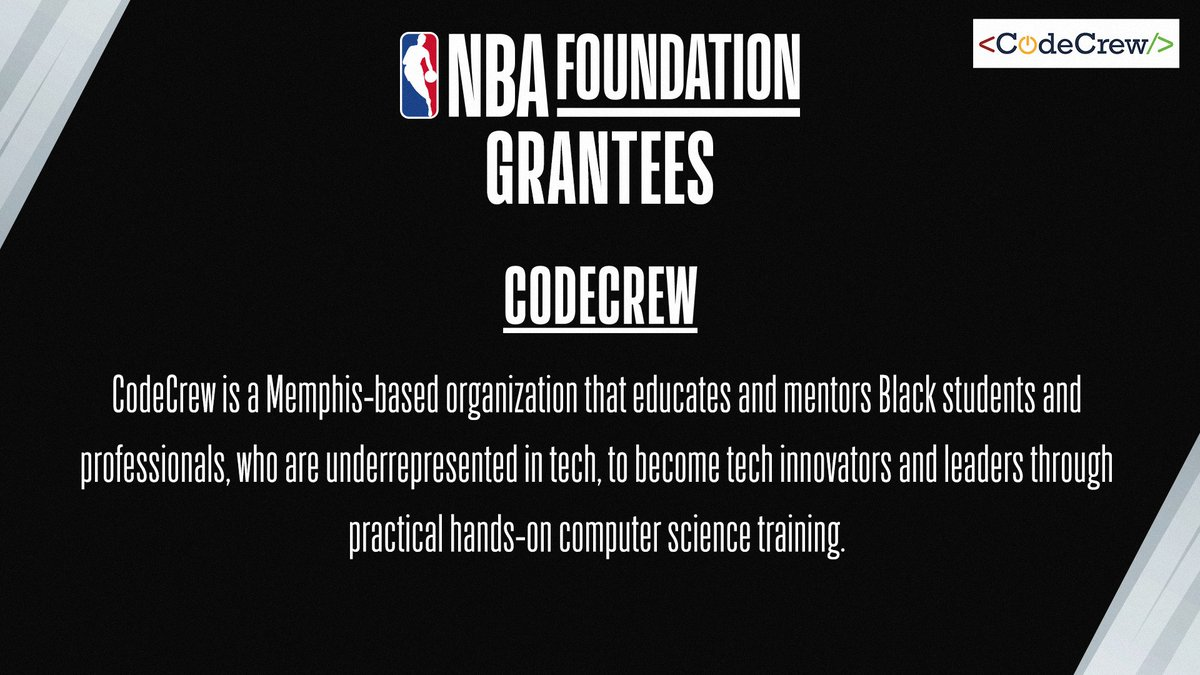 NBA Foundation is excited to partner with @_CodeCrew, an organization that educates & mentors Black students & professionals, who are underrepresented in the tech industry, to become innovators & leaders through computer science training. Learn more at https://t.co/caPxYiPqCK. https://t.co/LkegYpnQhe